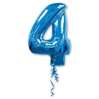 Шар-фигура Цифра 4 Синяя