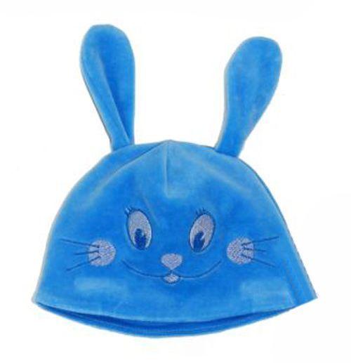 Синяя шапка для мальчика Зайчик
