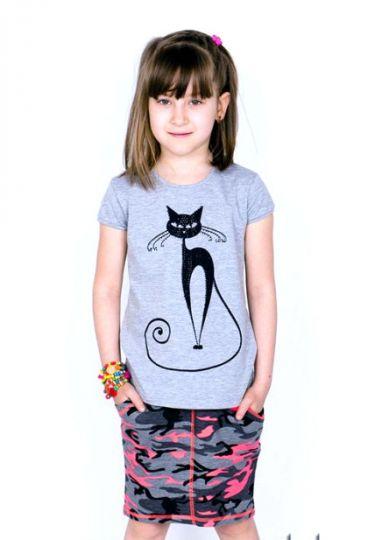 Футболка для девочки Загадочная кошка