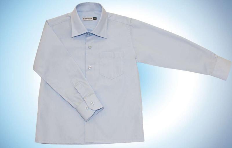 Прямая голубая рубашка Комфорт