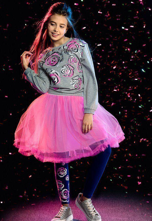 Розовая нарядная юбка для девочки 7 лет