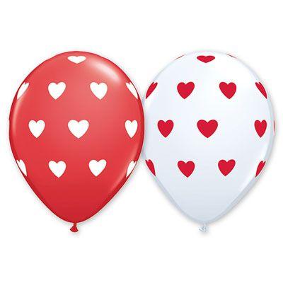 "Шелк 11""(30 см) Сердца большие White Red 5 шт."