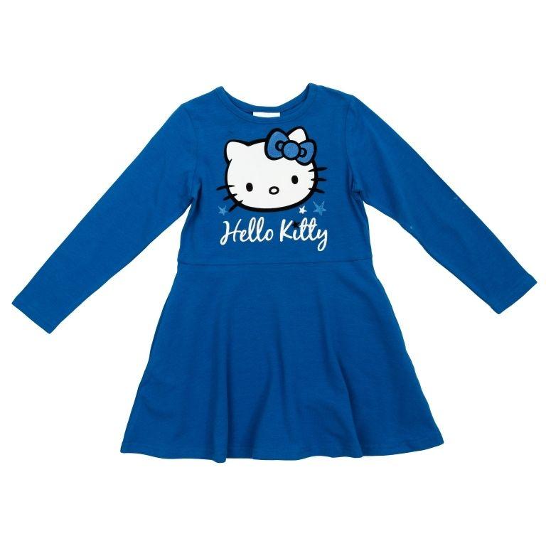 Трикотажное синее платье HelloKitty