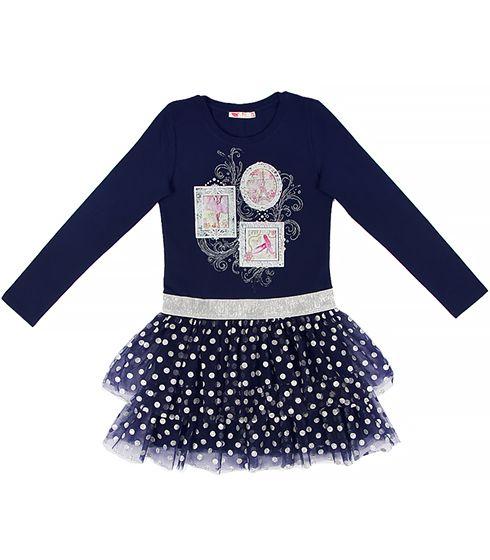 Платье для девочки цвет темно-синий